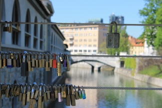 Love padlocks, Butchers' Bridge, Ljubljana