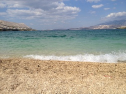 Beach in the town of Pag